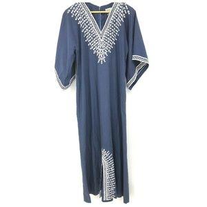Caro Honolulu Womens Dress Vtg Blue White 14 Mumu